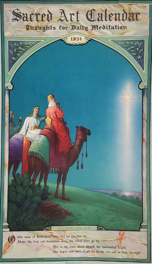 1934 Holy Night Calendar by George Hacker